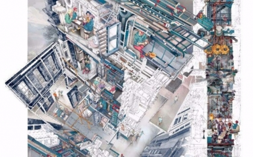 Memento Mori: A Peckham Hospice Care Home by architecture student Jerome Xin Hao Ng, winner of the Architecture Drawing Prize. The drawing is an extreme shot looking down into and through a highly detailed model of a building, with some parts in cross section.