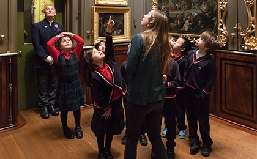 Schoolchildren discover the Picture Room at Sir John Soane's Museum