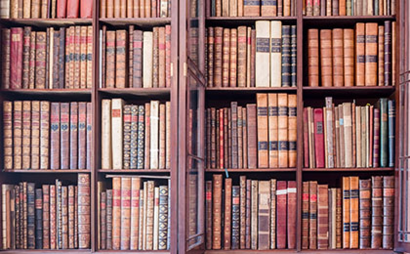 Photograph of the bookshelves in the Research Library at Sir John Soane's Museum