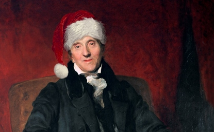 The famous Lawrence portrait of Soane with a festive addition of a Christmas hat