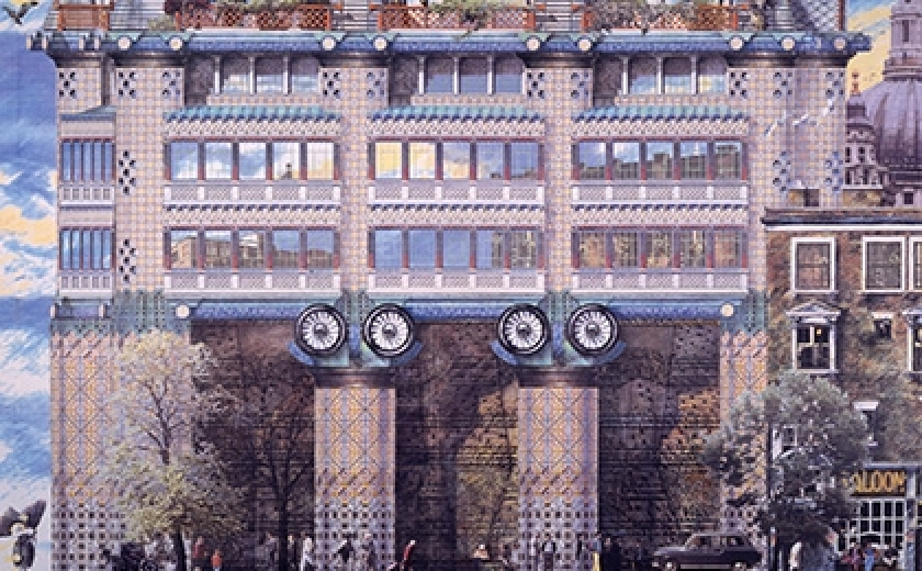 John Outram's design for 200 Queen Victoria Street. The image depicts a building in section, sporting a newly invented 'robotic' order of columns, with turbines instead of scrolls