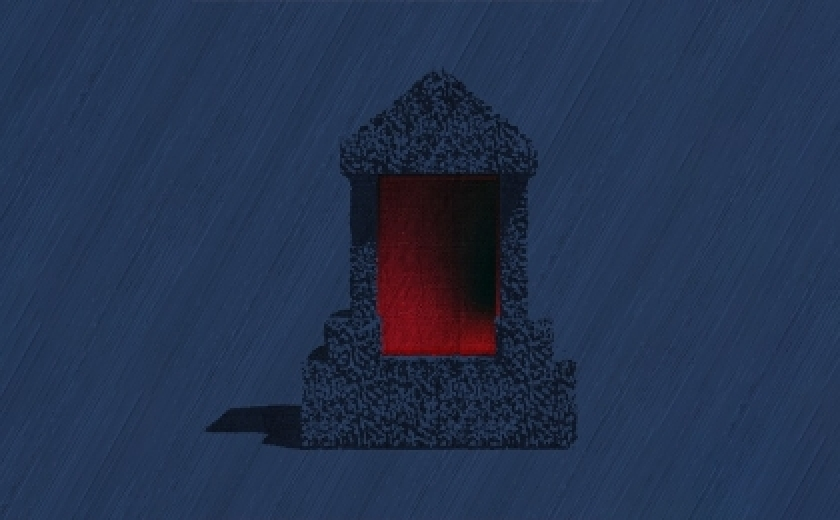 A design for the project. The image shows a blue tomb like structure, lit internally by red light in its central alcove, and externally by blue light.