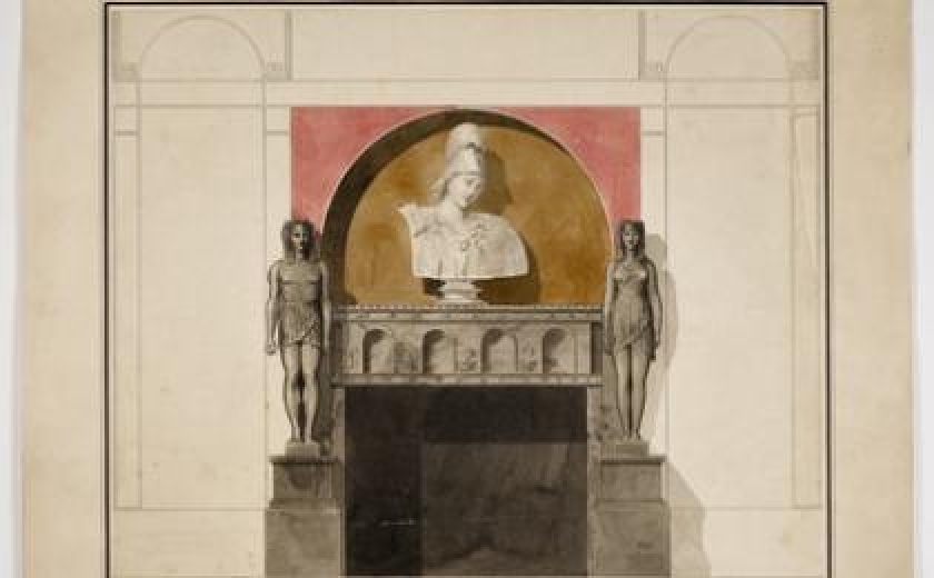 Drawing of an architectural structure, a design for a fireplace in the library for the 1st Marquess of Lansdowne