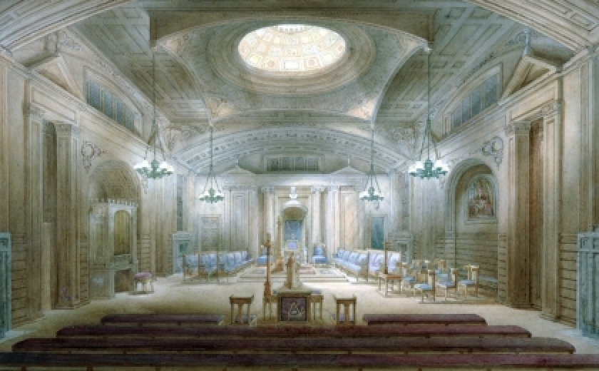 A depiction of Sir John Soane's design for the Freemason's hall, a cavernous space in the classical style with a central skylight allowing light into the room