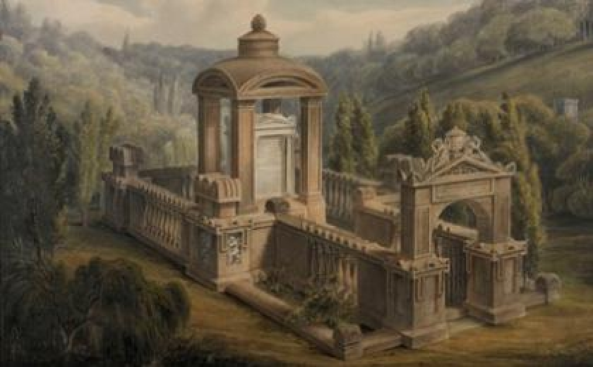 George Basevi's 'Bird's-eye view of the Soane Family Tomb' with the tomb of Jean-Jacques Rousseau in the background