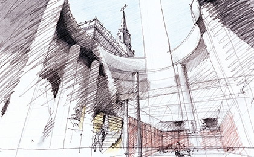 Eric Parry, Preliminary sketch of the lightwell and interlocking circular form, St Martin's-in-the-Fields, London, 2002–08. The drawing is looking up through the void in the centre of Parry's building, so you can see the spire of the nearby church.