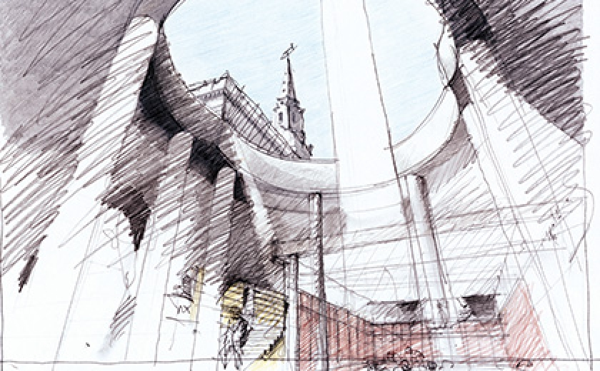 Eric Parry, Preliminary sketch of the lightwell and interlocking circular form, St Martin's-in-the-Fields, London, 2002–08