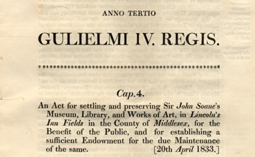 Image of the Act of Parliament which established the Museum