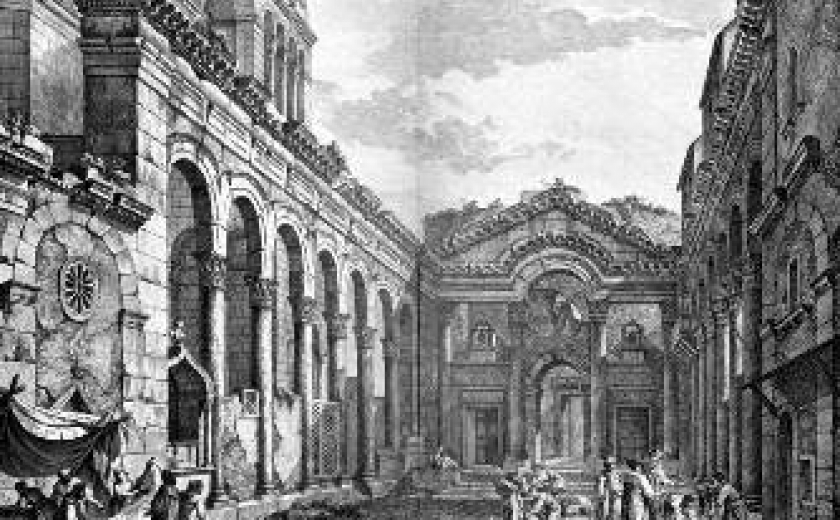 Engraving showing the peristyle at Diocletian's Palace in Split