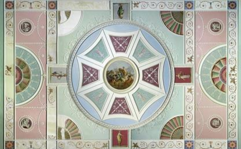 The ceiling from Garrick's front drawing room in the V&A British Galleries