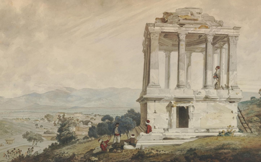 A watercolour of four men in conversation at the foot of a classical ruin atop a hill with a view of the landscape beyond