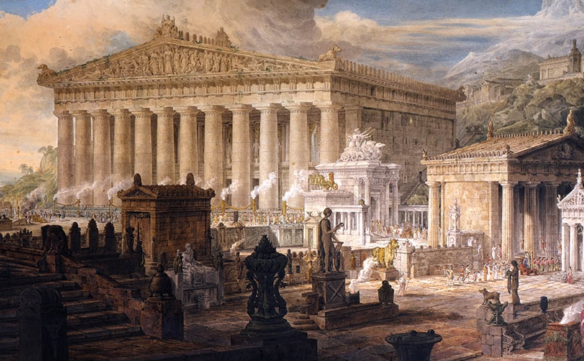 A watercolour painting showing an assemblage of Greek temples and figures