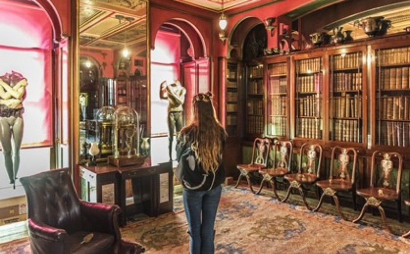 Visitor in the Soane Museum's Library Dining Room