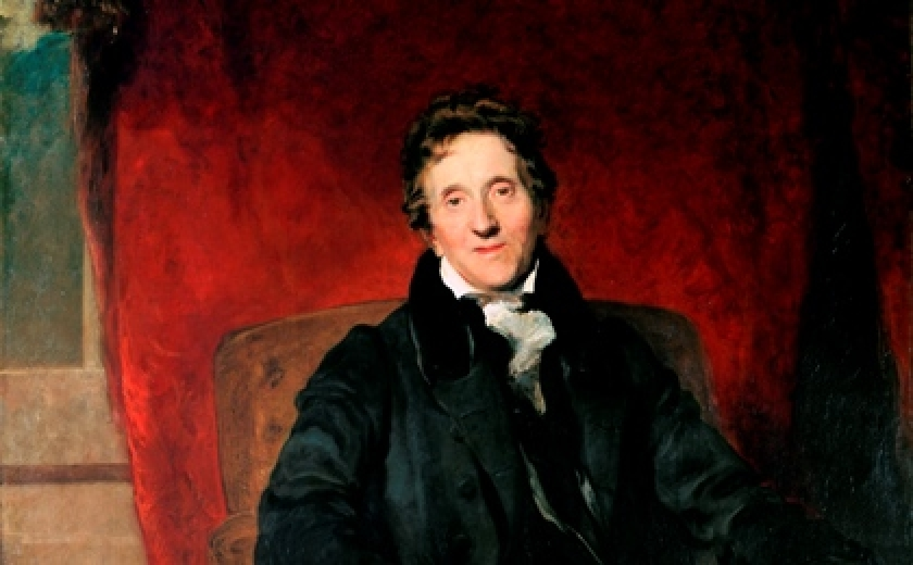 The portrait of Soane by Sir Thomas Lawrence showing Soane sitting in a chair