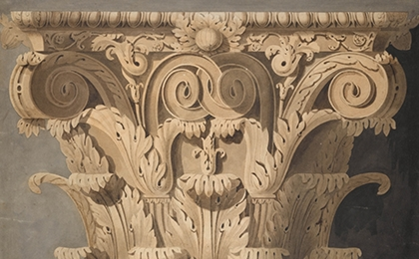 A very detailed drawing by the Office of John Soane of a Corinthian capital from the Temple of Castor and Pollux in Rome.