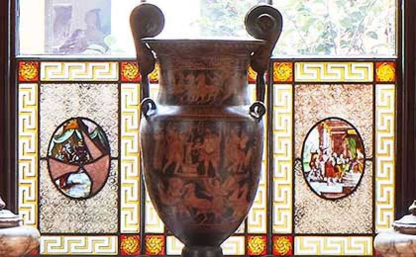 the cawdor vase in the library dining room
