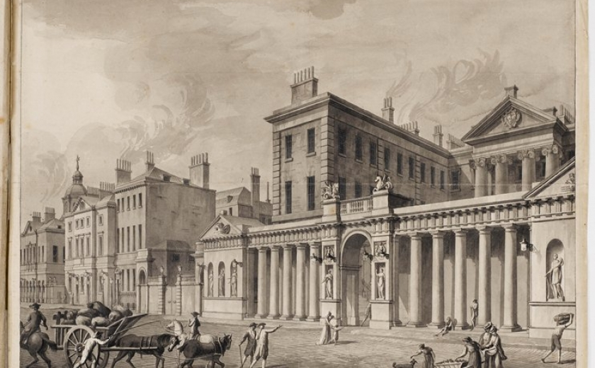 Drawing showing a perspective view of the Admiralty Screen on Whitehall