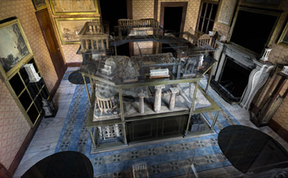 A screenshot from Explore Soane showing a 3D scan of a room in the Museum
