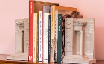 Soane books and catalogues with Soane inspired bookends